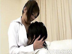 Teen model Hiyoko Morinaga has her big tits squeezed and