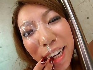 asian surprised by huge cumshot in her eyes !!