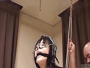 Subtitled bizarre CMNF Japanese nose hook BDSM spanking
