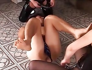 Rough Japanese Dommes In Latex Fuck Their Slave