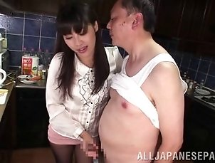 CFNM handjob and ass eating from a pretty Japanese girl