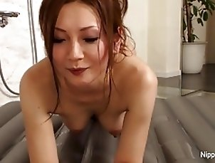 She teases him with a wet body massage