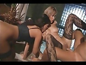 Threesome with two sexy babes in thigh high nylons